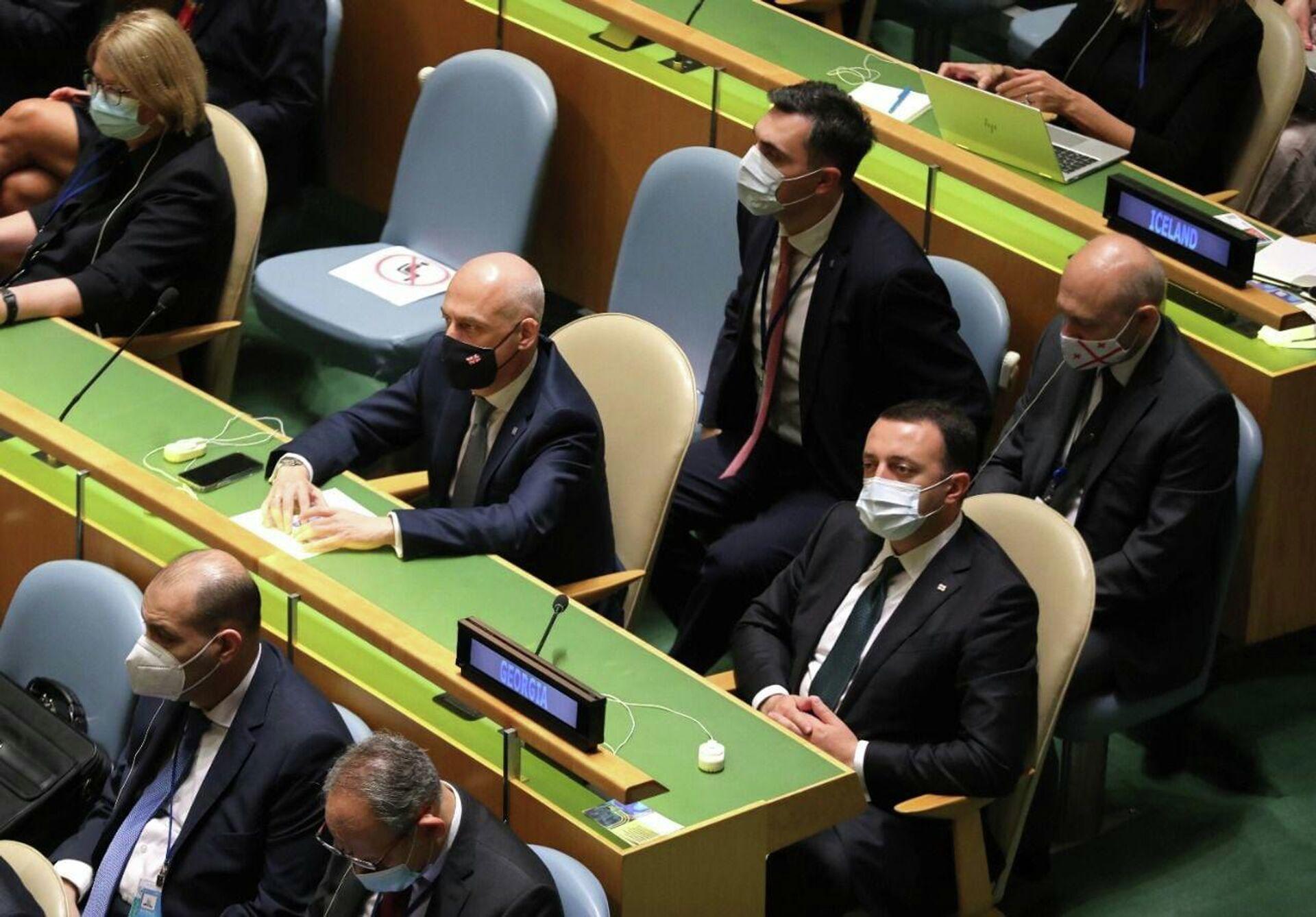 Ираклий Гарибашвили на сессии Генеральной Ассамблеи ООН - Sputnik Грузия, 1920, 23.09.2021