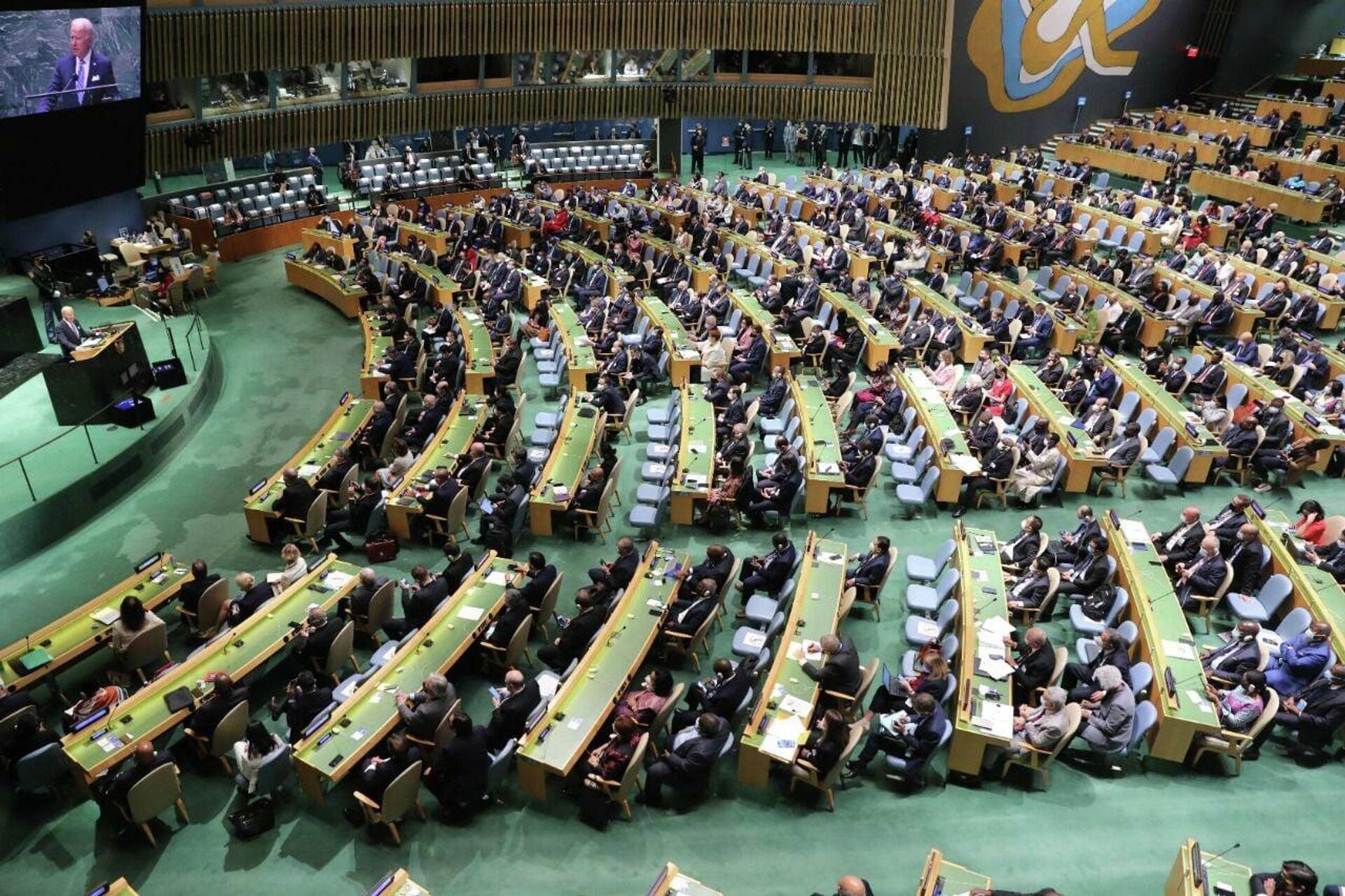 Ираклий Гарибашвили на сессии Генеральной Ассамблеи ООН - Sputnik Грузия, 1920, 25.09.2021