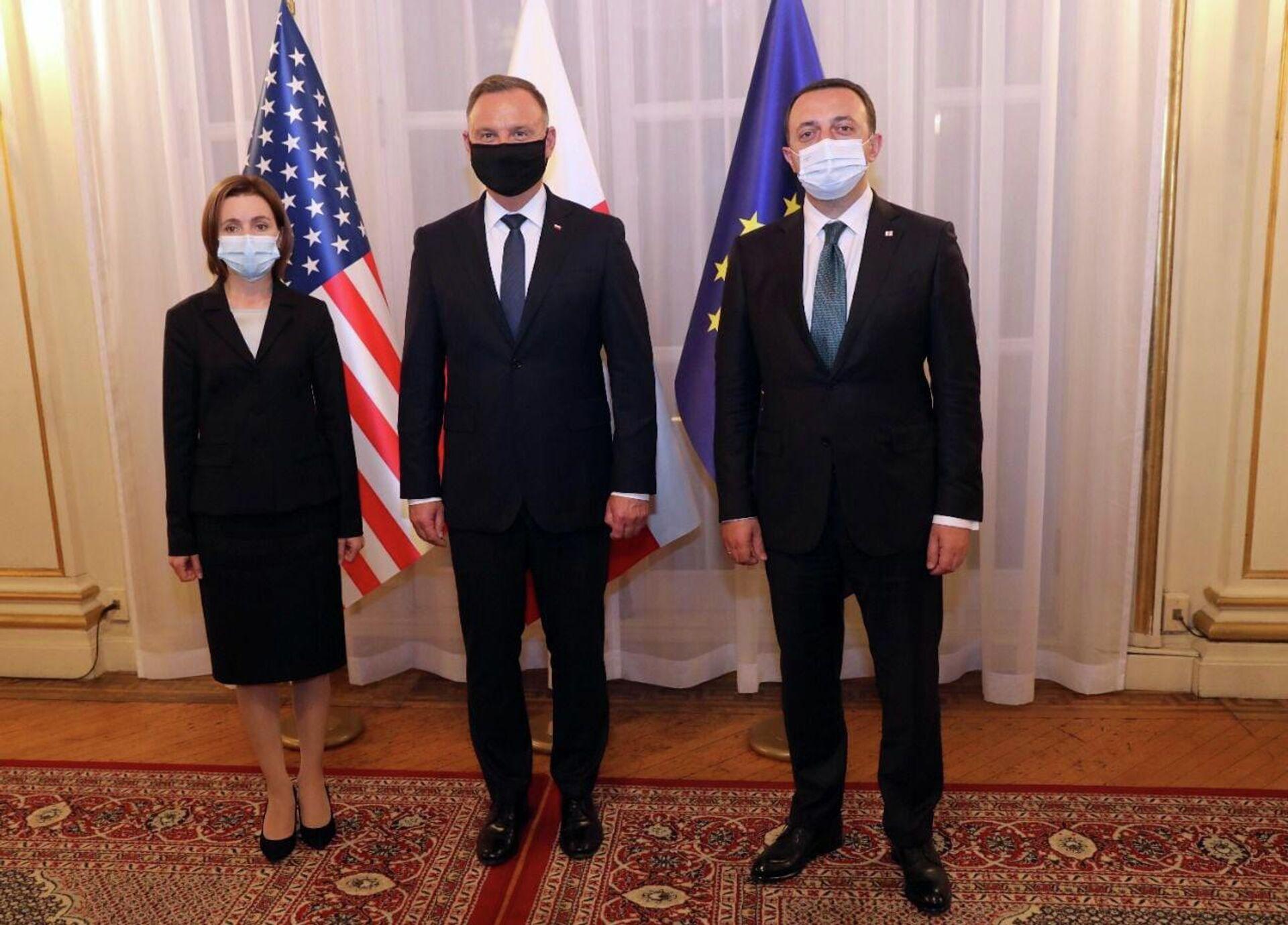 Ираклий Гарибашвили с Майей Санду и Анджеем Дуда - Sputnik Грузия, 1920, 22.09.2021