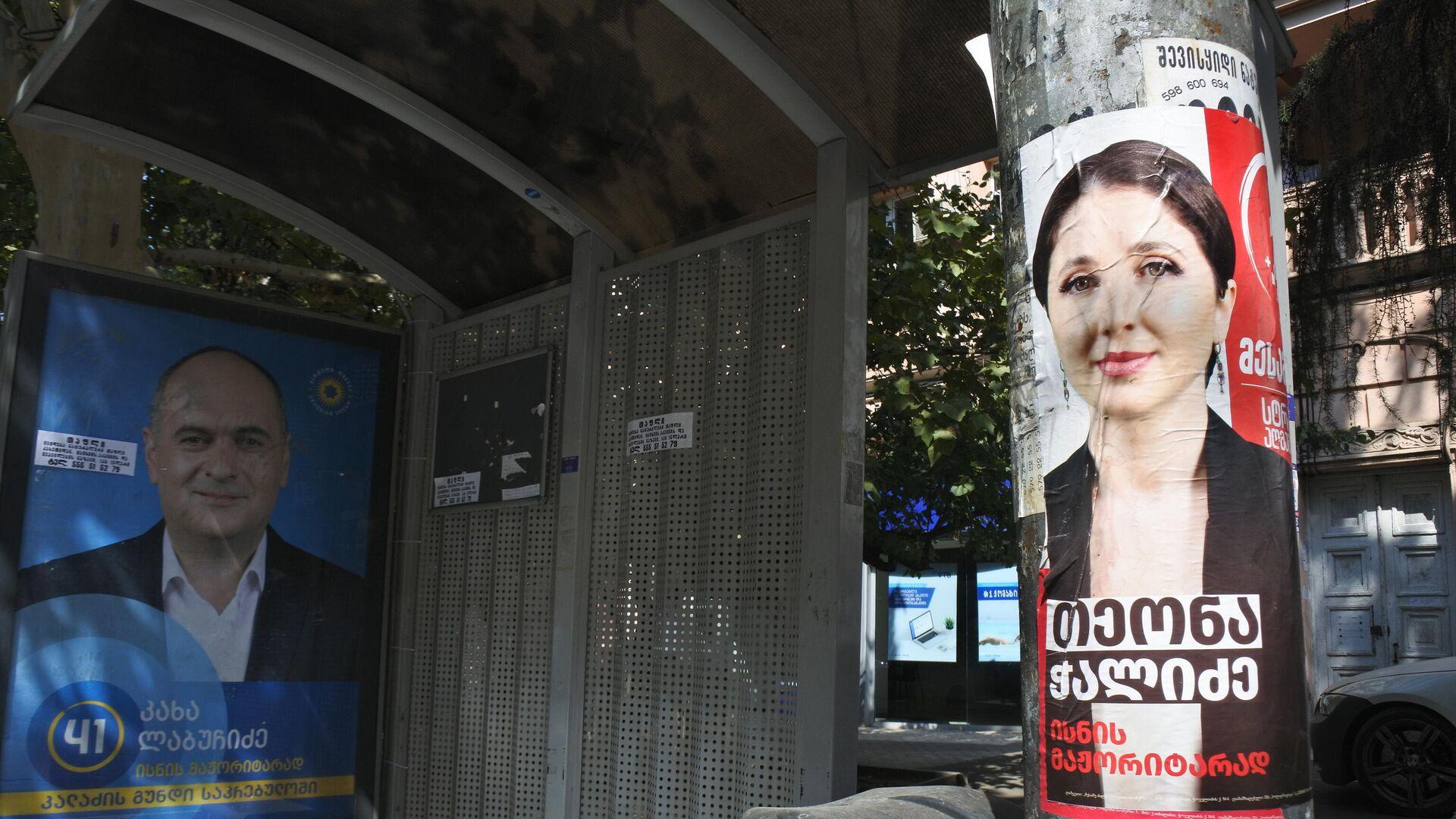 Предвыборная реклама - баннеры и плакаты. Плакат Теоны Чалидзе от платформы Третья Сила - Sputnik Грузия, 1920, 28.09.2021