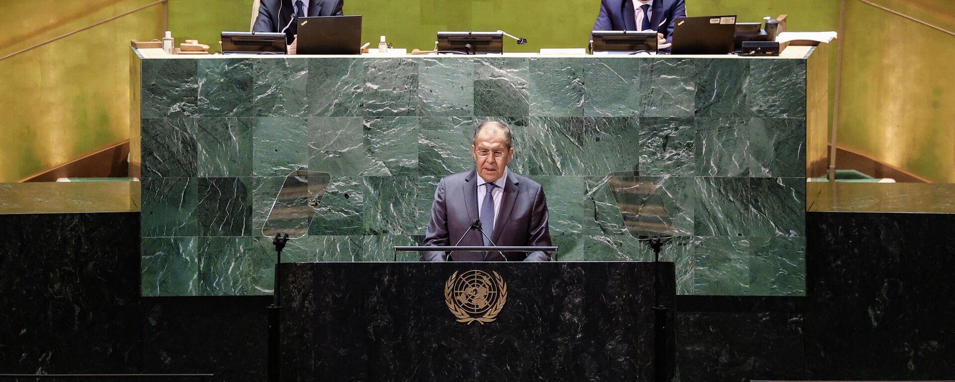 Выступление Сергея Лаврова на 76-й сессии Генассамблеи ООН - Sputnik Грузия, 1920, 27.09.2021