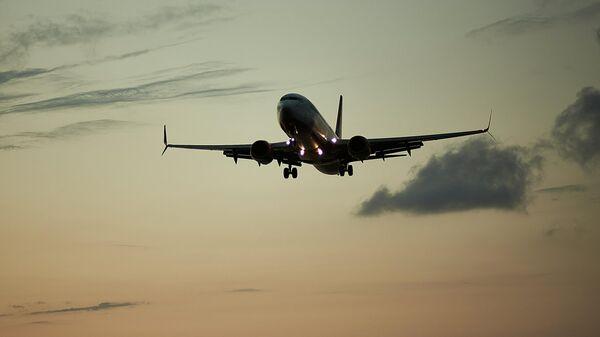 Пассажирский самолет вечером заходит на посадку - Sputnik Грузия