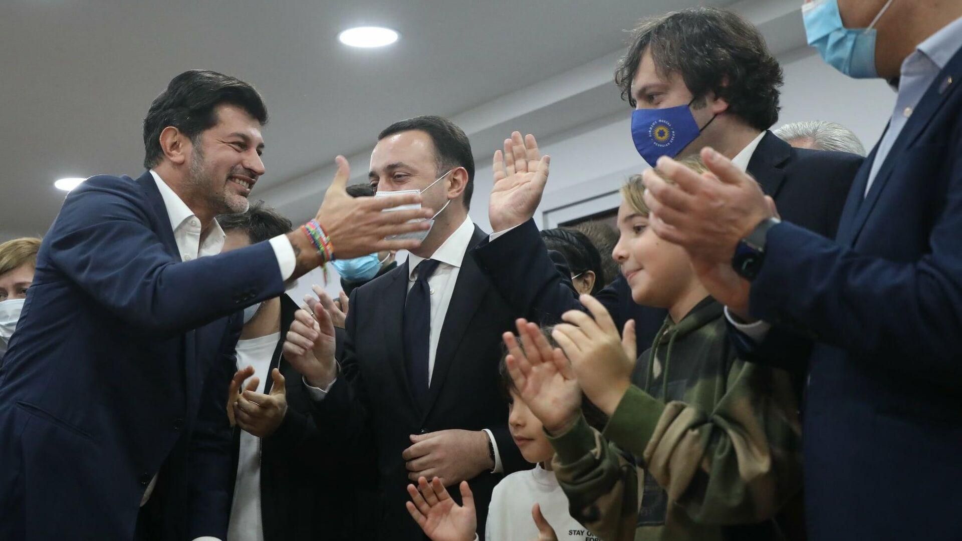 Каха Каладзе, Ираклий Гарибашвили, Ираклий Кобахидзе - лидеры партии Грузинская мечта - Sputnik Грузия, 1920, 03.10.2021