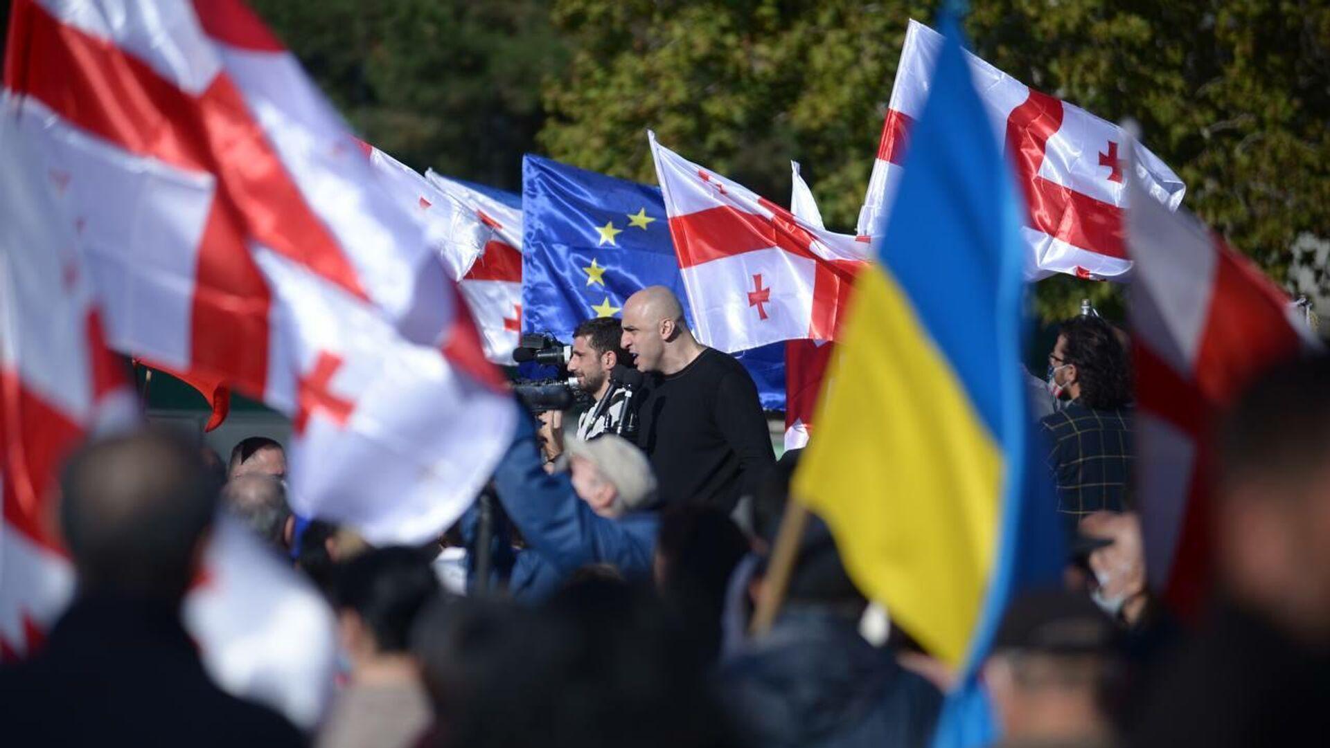 Ника Мелия. Акция протеста сторонников Саакашвили у Руставской тюрьмы 4 октября 2021 года - Sputnik Грузия, 1920, 04.10.2021