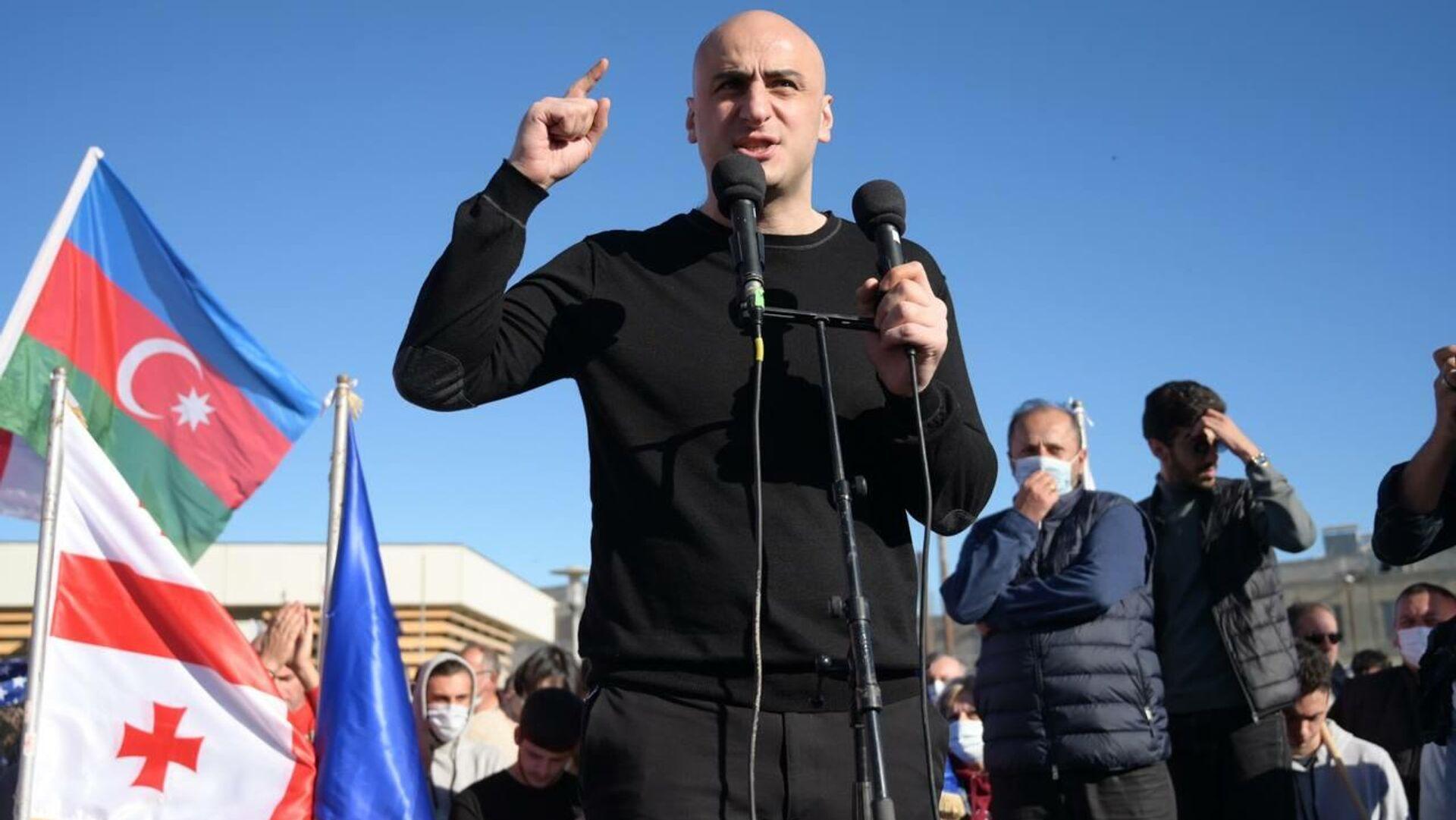 Ника Мелия. Акция протеста сторонников Саакашвили у Руставской тюрьмы 4 октября 2021 года - Sputnik Грузия, 1920, 05.10.2021
