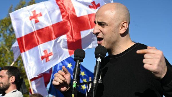 Ника Мелия. Акция протеста сторонников Саакашвили у Руставской тюрьмы 4 октября 2021 года - Sputnik Грузия
