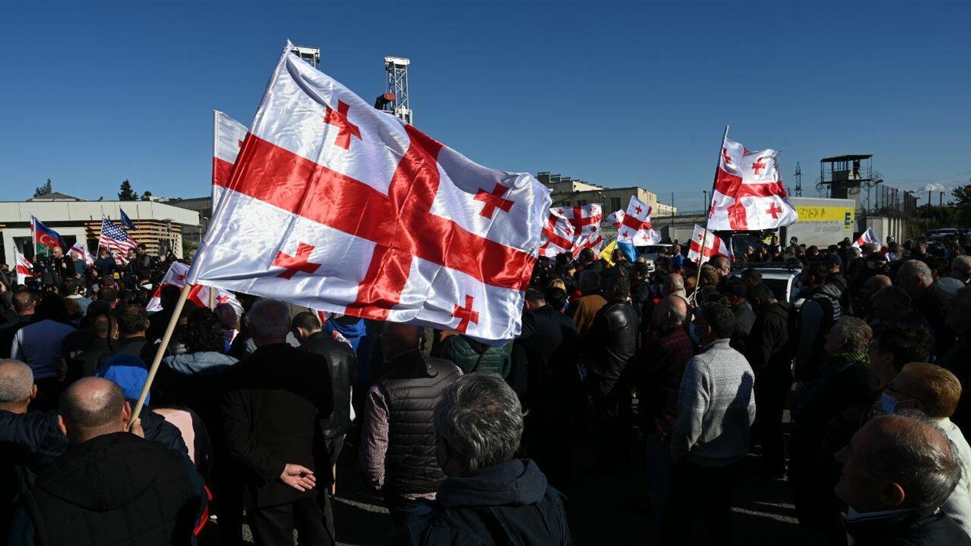 Акция протеста сторонников Саакашвили у Руставской тюрьмы 4 октября 2021 года - Sputnik Грузия, 1920, 13.10.2021