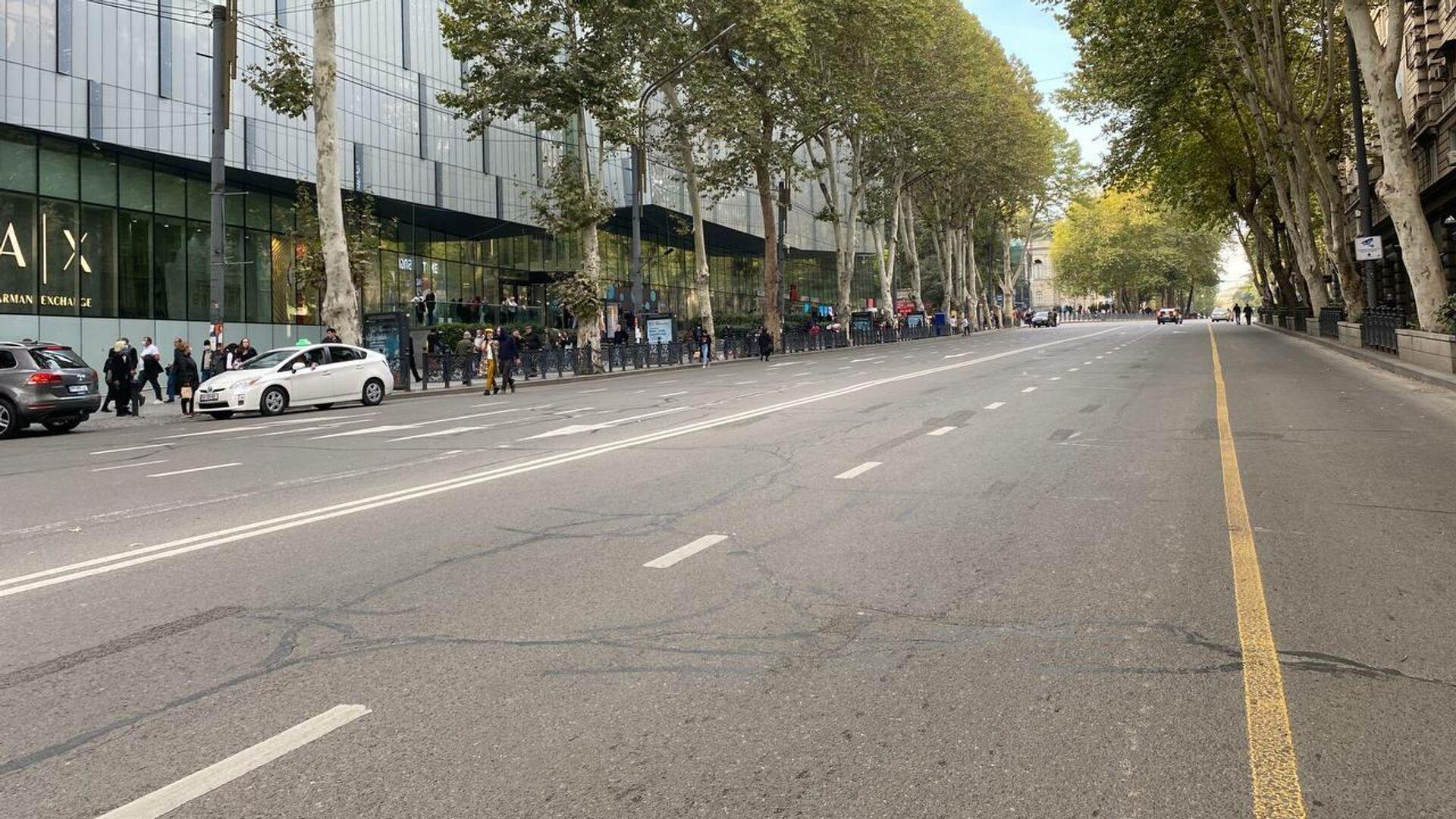 Автомобильное движение по проспекту Руставели остановлено перед акцией протеста 14 октября - Sputnik Грузия, 1920, 14.10.2021