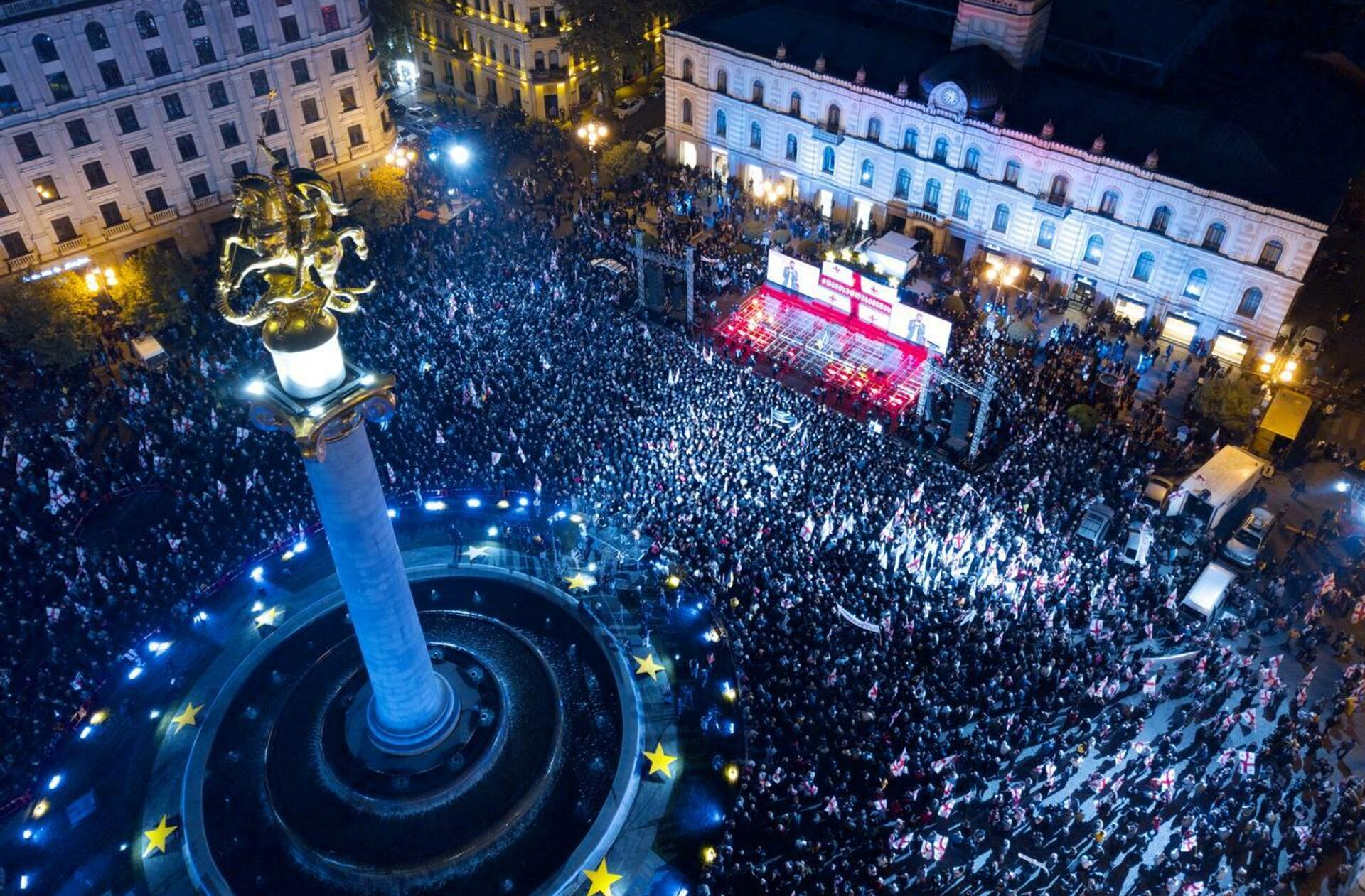 Свободу Саакашвили - акция протеста оппозиции и ЕНД на площади Свободы 14 октября - Sputnik Грузия, 1920, 14.10.2021
