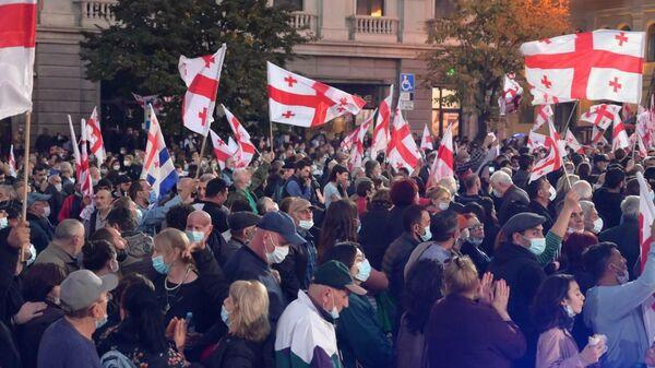 Свободу Саакашвили - акция протеста оппозиции и ЕНД на площади Свободы 14 октября - Sputnik Грузия