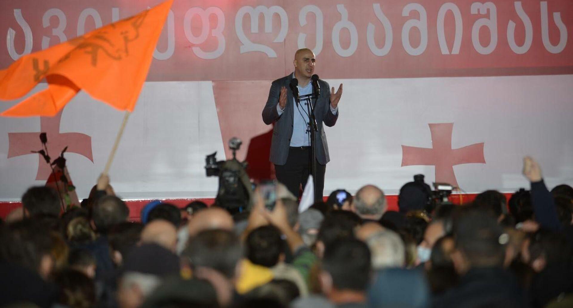 Ника Мелия на акции протеста оппозиции и ЕНД на площади Свободы 14 октября - Sputnik Грузия, 1920, 14.10.2021
