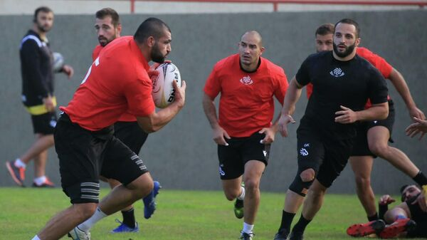 Тренировка грузинских регбистов перед матчем с израильской командой в рамках Суперкубка Европы - Sputnik Грузия