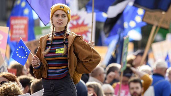 Участница акции протеста. Архивное фото - Sputnik Грузия