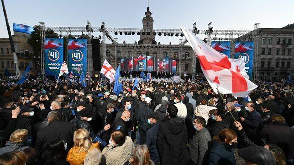 Акция Грузинской мечты в Тбилиси перед вторым туром выборов 27.10.2021 - Sputnik Грузия