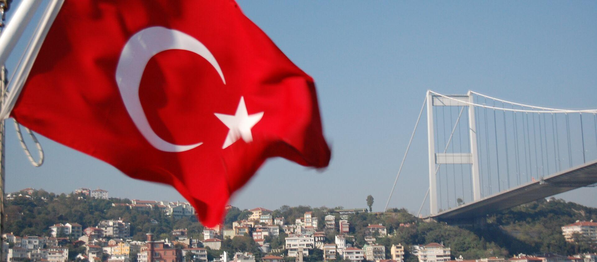 Мост через Босфор и флаг Турции - Sputnik Грузия, 1920, 07.04.2021