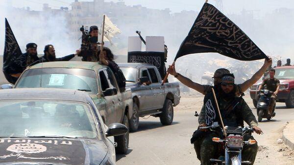 Сирия Алеппо Аль-Каида террористическая организация флаг боевики - Sputnik Грузия