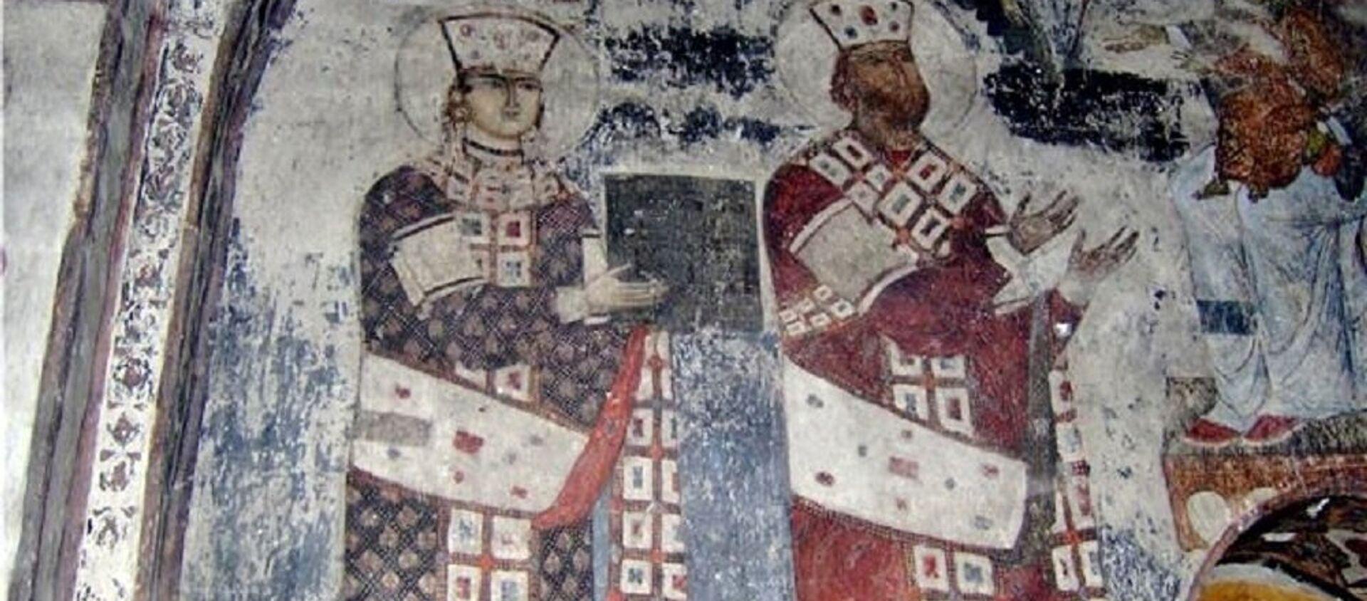 თამარ მეფე და მეფე გიორგი მესამე. ვარძია, ღვთისმშობლის მიძინების ეკლესია - Sputnik საქართველო, 1920, 30.06.2021