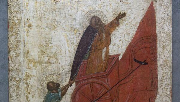 Икона Огненное восхождение пророка Ильи на небо - Sputnik Грузия