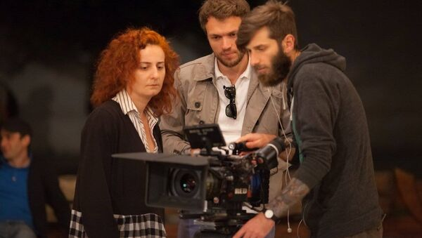 Режиссер Георгий Сихарулидзе во время съемок фильма Красные яблоки - Sputnik Грузия