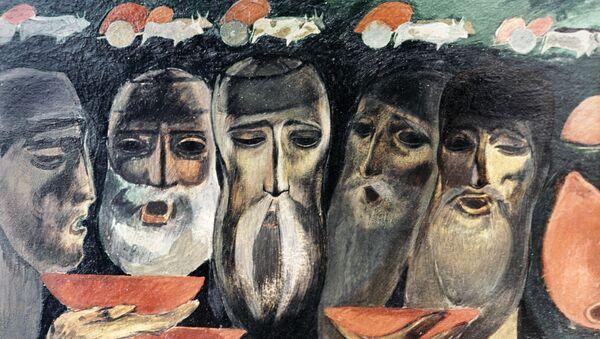 Репродукция картины грузинского художника Мераба Бердзенишвили Старики, пьющие вино. - Sputnik Грузия