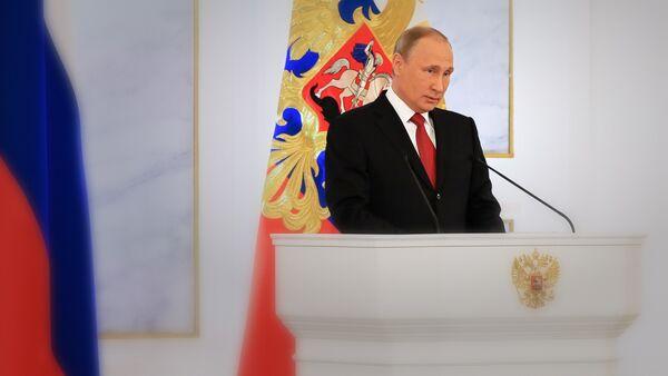 Президент РФ Владимир Путин во время ежегодного обращения к Федеральному собранию - Sputnik Грузия