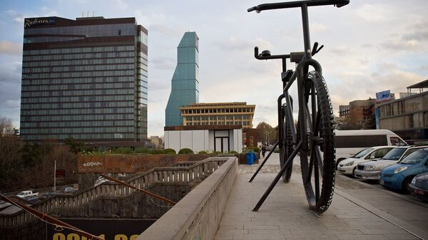 Памятник велосипеду и здоровому образу жизни на площади Революции роз в Тбилиси - Sputnik Грузия