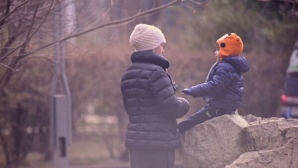 Мама с ребенком зимой в одном из парков грузинской столицы - Sputnik Грузия