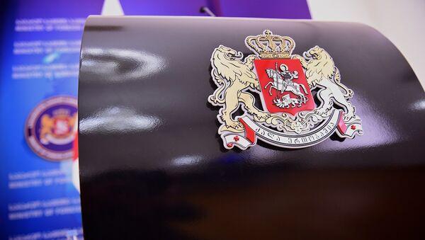 Герб Грузии на трибуне для выступлений в МИД - Sputnik Грузия