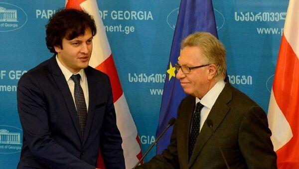 Председатель парламента Грузии Ираклий Кобахидзе и глава Венецианской комиссии Джанни Букиккио - Sputnik Грузия