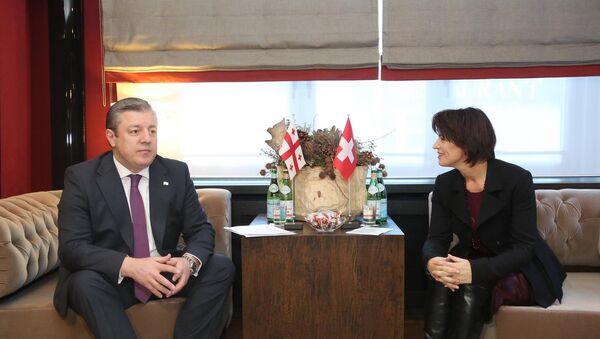 Встреча премьер-министра Грузии Георгия Квирикашвили с президентом Швейцарии Дорис Лойтхард - Sputnik Грузия