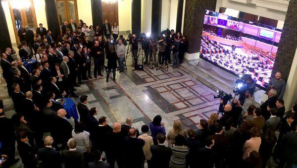 Торжественный прием в парламенте Грузии по случаю голосования в Европарламенте по визам - Sputnik Грузия