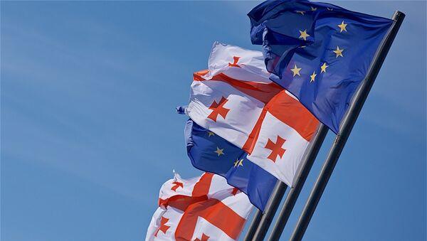 Флаги Грузии и Евросоюза - Sputnik Грузия