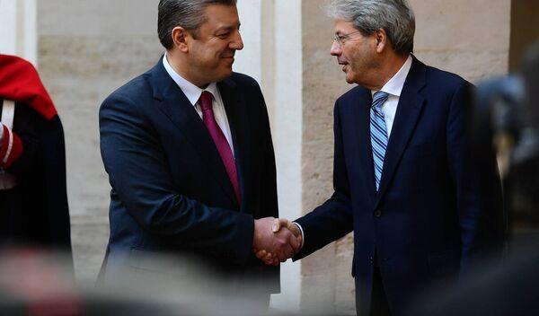 Встреча премьеров Грузии и Италии Георгий Квирикашвили и Паоло Джентилони - Sputnik Грузия
