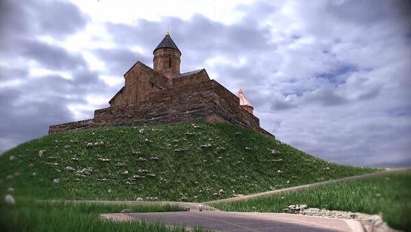 Церковь Святой Троицы у села Гергети, Казбегский район - Sputnik Грузия