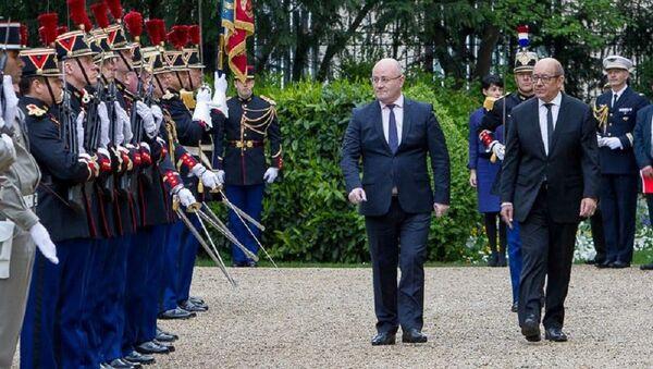 საქართველოსა და საფრანგეთის თავდაცვის მინისტრები ლევან იზორია და ჟან–ივ დრიანი - Sputnik საქართველო