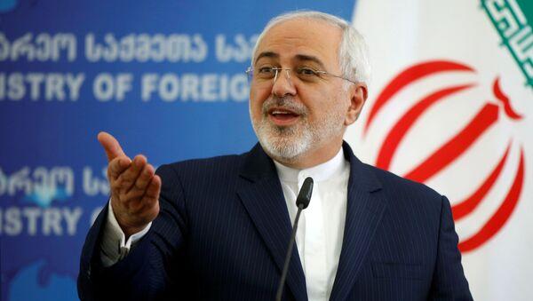 Глава МИД Ирана Мохаммад Джавад Зариф выступает на брифинге  в ходе визита в Тбилиси, в министерстве иностранных дел Грузии - Sputnik Грузия