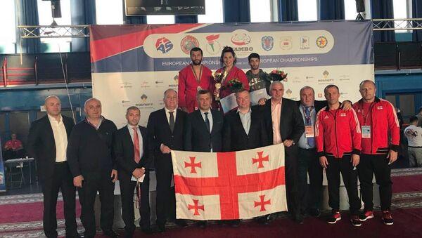 Грузинские самбисты Паата Гвиниашвили, Нино Одзелашвили и Леван Берберашвили - Sputnik Грузия
