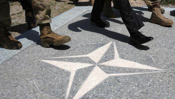 Люди идут по плацу с символикой НАТО - Sputnik Грузия