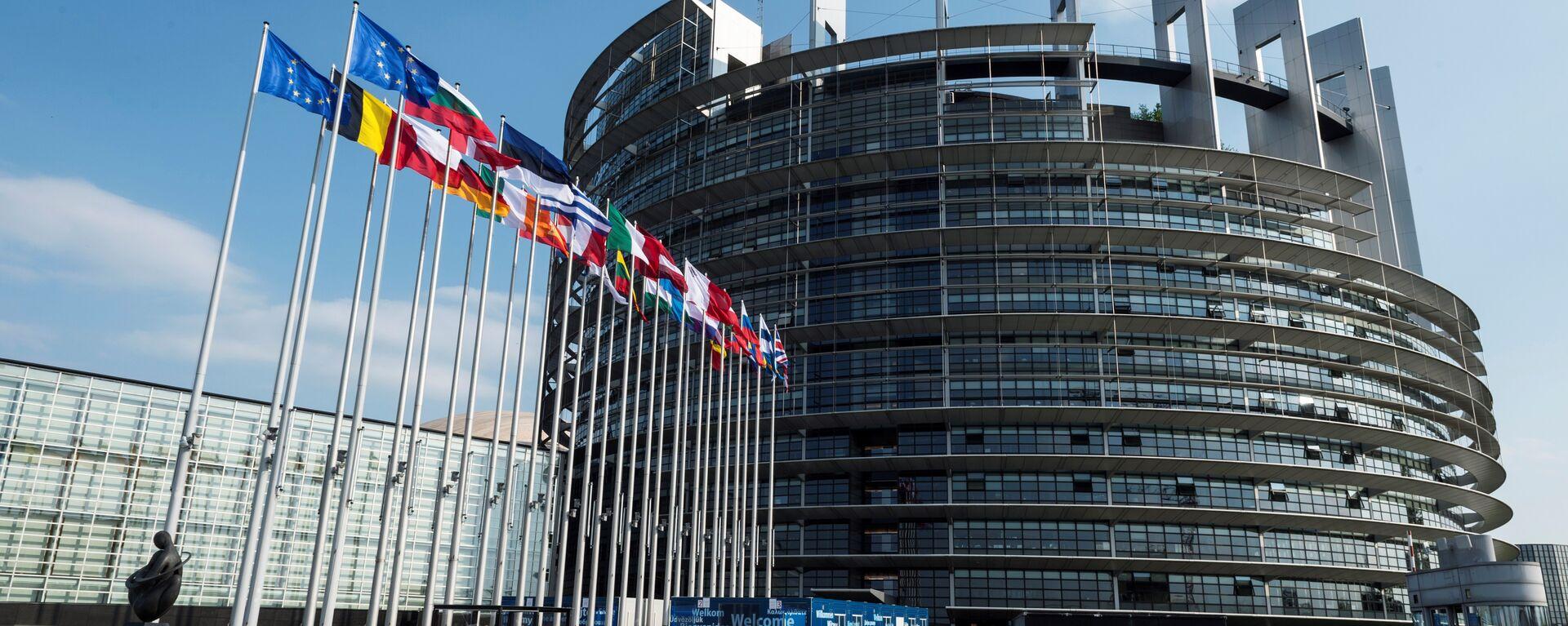 Флаги перед зданием Европейского парламента в Страсбурге - Sputnik Грузия, 1920, 04.06.2021