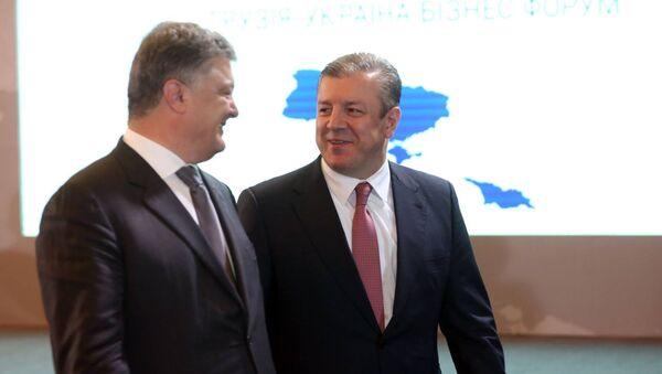 Президент Украины Петр Порошенко и премьер Грузии Георгий Квирикашвили - Sputnik Грузия