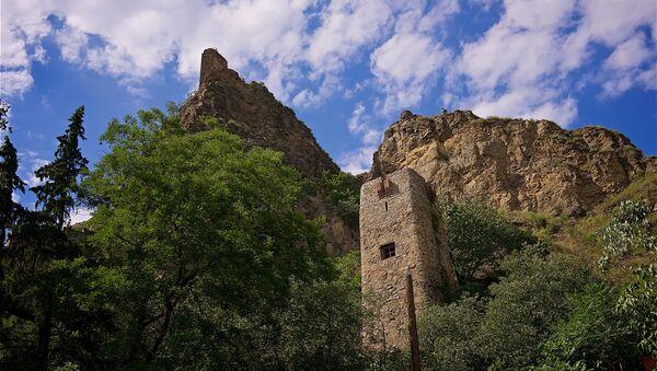 От входа в тбилисский Ботанический сад открывается вид на венчающую вершину скалы крепость Нарикала - Sputnik Грузия