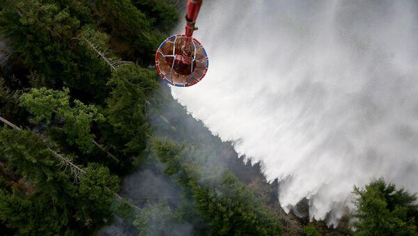 ტყის ხანძრის ჩაქრობა ვერტმფრენის მონაწილეობით - Sputnik საქართველო