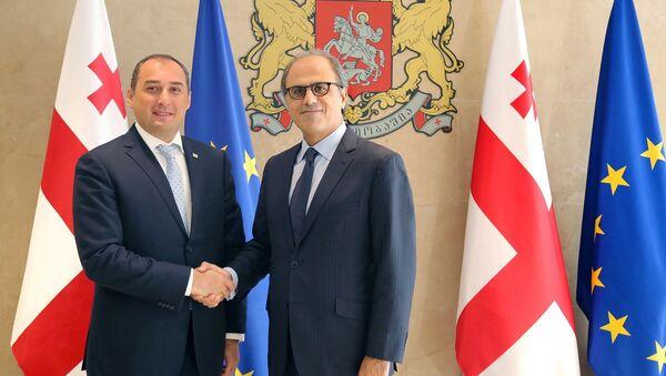 Министр финансов Грузии Дмитрий Кумсишвили и директор департамента стран Ближнего Востока и Центральной Азии МВФ Джихад Азур - Sputnik Грузия