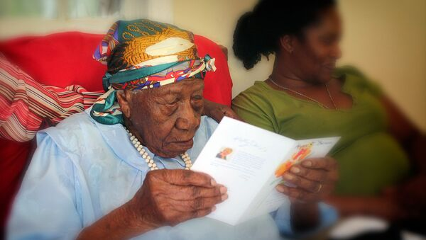 Жительница Ямайки Вайлет Мосс-Браун, которая считалась старейшим человеком на Земле. Фото было сделано в апреле 2017 года - Sputnik Грузия
