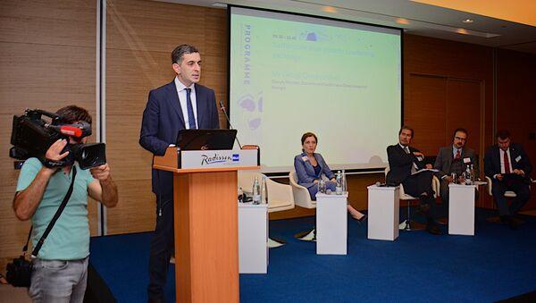 Заместитель министра экономики и устойчивого развития Грузии Георгий Черкезишвили выступает на батумской конференции - Sputnik Грузия