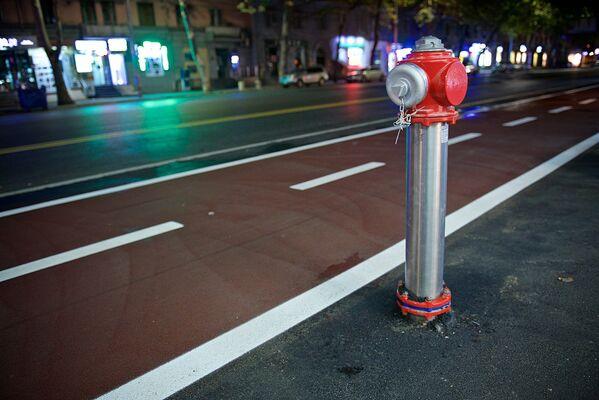 Улица Пекина - сегодня пожалуй, единственная улица в Тбилиси, которая может похвастаться не только велодорожкой, но и установленными вдоль нее вот такими новыми пожарными гидрантами - Sputnik Грузия