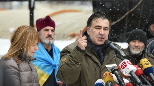 Михаил Саакашвили со своими сторонниками в Киеве - Sputnik Грузия