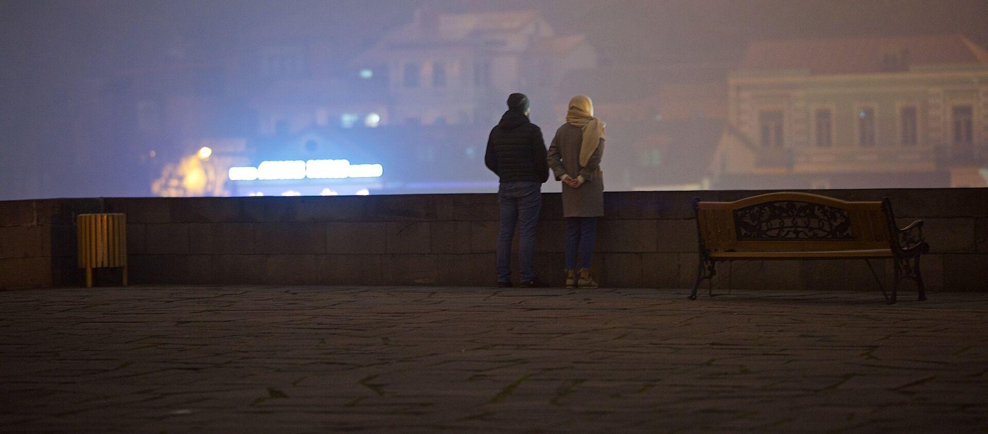 Тбилиси в тумане - туристы смотрят на город со смотровой площадки у памятника Вахтангу Горгасали - Sputnik Грузия, 1920, 30.03.2021