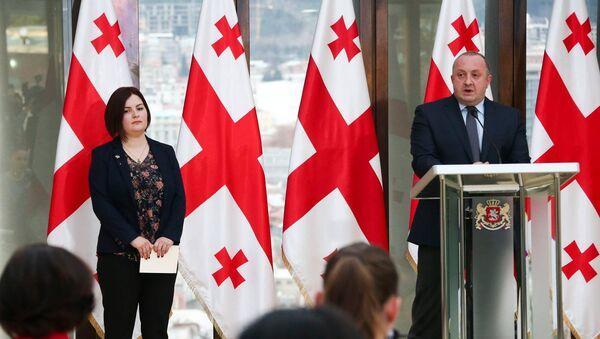 Президент Грузии Георгий Маргвелавшили и парламентский секретарь Анна Нацвлишвили - Sputnik Грузия