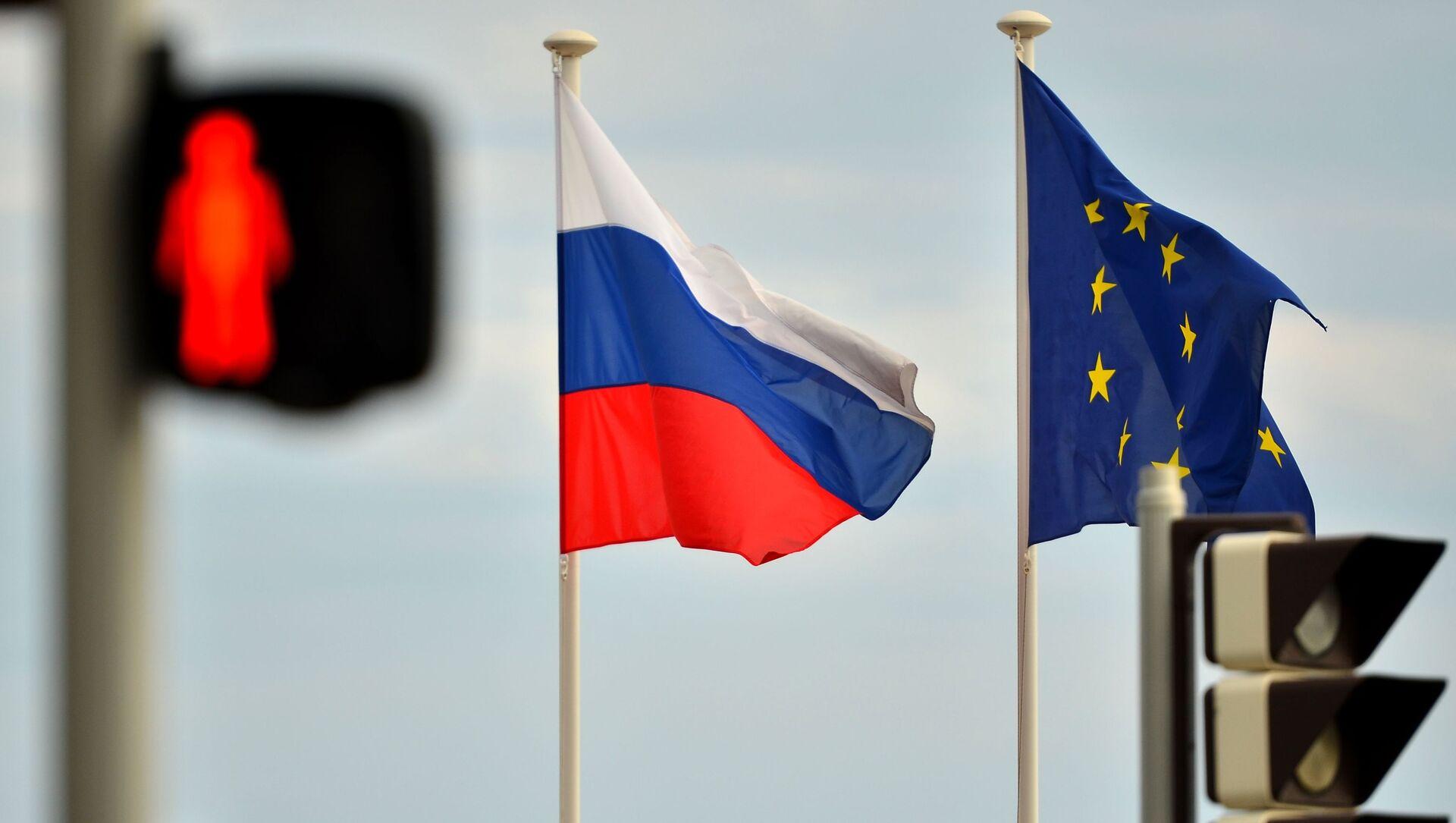 ევროკავშირისა და რუსეთის დროშები - Sputnik საქართველო, 1920, 18.06.2021